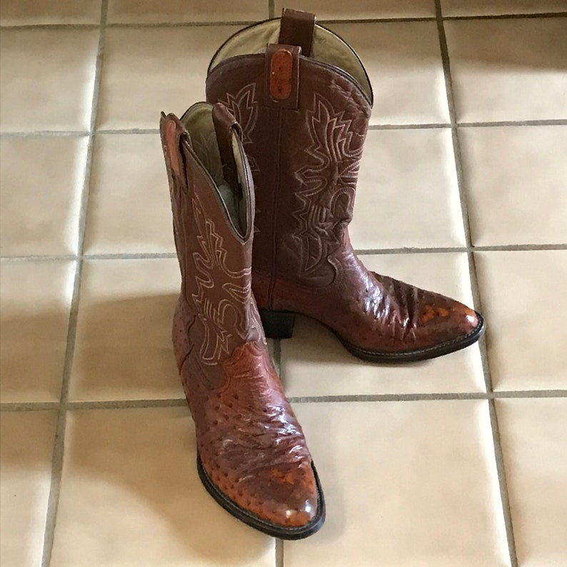 Awesome Woman/'s Ostrich Leather Western 2 Tone Cowboy Boots With Fancy Stitching VTG 1980/'s...Unisex  Men/'s Size 8D Woman/'s Size  9M.