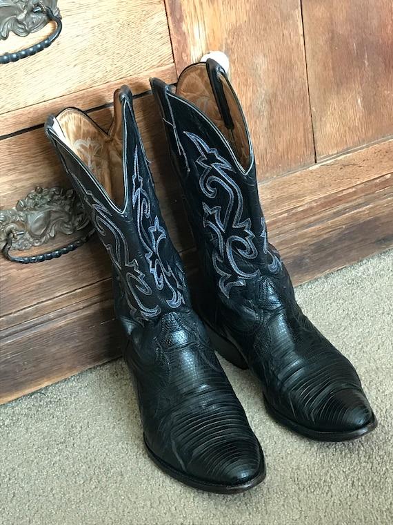 dbc90757d58 VTG Exotic Coyote Joe Men s Black Lizard Skin Leather