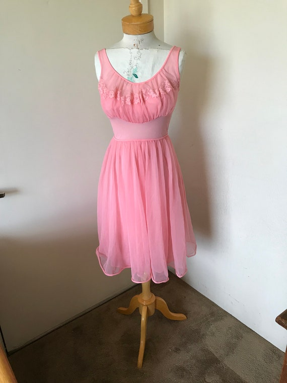 a1b96306c6e Glamours 1950 s Salmon Double Layer Sheer Nylon Nightgown.