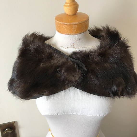 VTG 1930's 1940's Dark Brown Ermine Fur Stole Cape