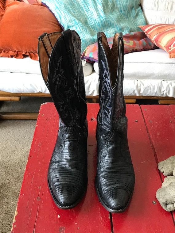 179eaa76d25 VTG Exotic Coyote Joe Men s Black Lizard Skin Leather Western Cowboy Boots. Size  10 D
