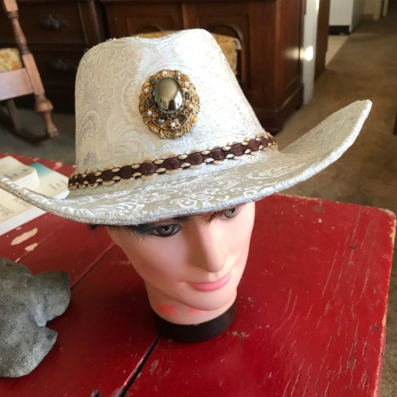 c1c92f9536086 Stunning Silver Brocade Rodeo Queen Cowgirl Hat With Victorian