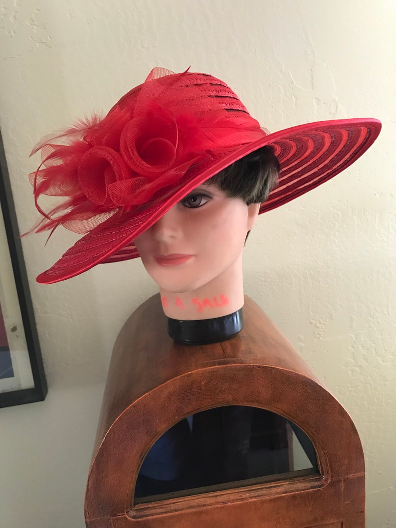 2856be64f Smashing VTG Red Big Brimmed Straw Hat Trimmed With Red Net Roses &  Feathers And Satin Band. Movie Star Glam/Kentucky Dreby/Red Hat Society.