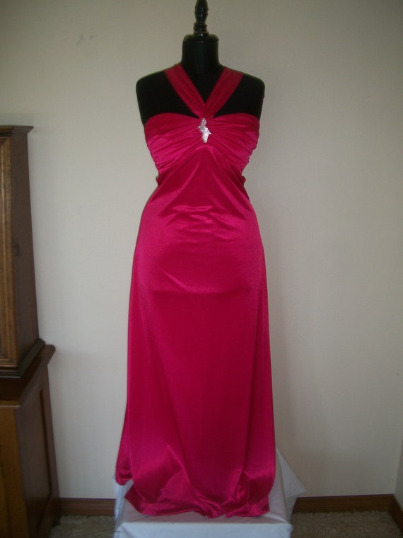 Vintage 1930's Style Liquid Satin Hot Pink Gown. P