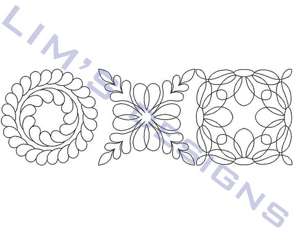 Quilt block machine  embroidery design Three sizes