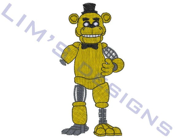 Nightmare Golden Freddy Machine Embroidery Design Size 4x4