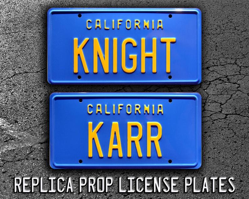 Knight Rider   KITT Trans Am   KNIGHT + KARR   Metal Stamped Replica Prop  License Plate Combo