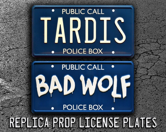BAD WOLF Doctor Who Metal Stamped License Plate