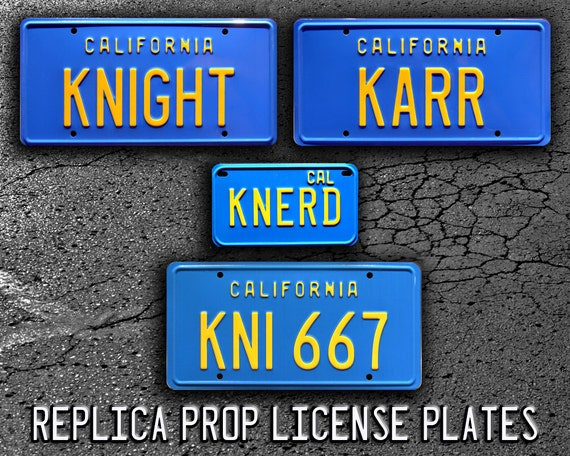 Knight Rider Trans Am   KNIGHT + KARR + KNI 667 + Knerd   Metal Stamped  Replica Prop License Plate Combo