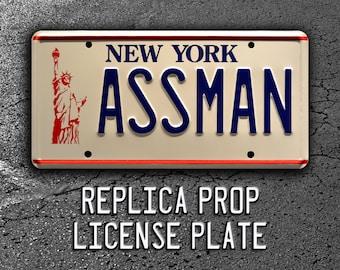 Seinfeld | Cosmo Kramer's Impala | ASSMAN | Metal Stamped Replica Prop License Plate