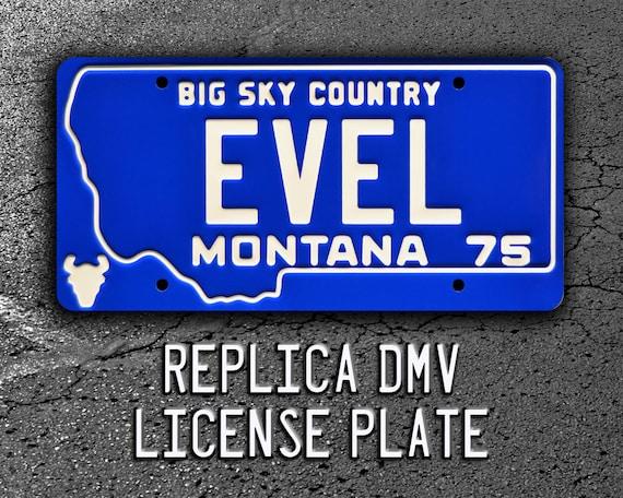 "Evel Knievel EVEL *ALUMINUM* Montana License Plate Harley Davidson 4 x 7/"""