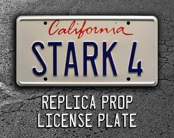 Iron Man | Tony Stark's 2007 Audi R8 | STARK 4 | Metal Stamped Replica Prop License Plate