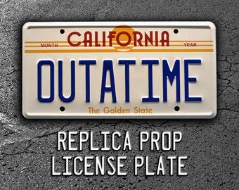 Back to the Future | DeLorean | OUTATIME | Metal Stamped Replica Prop License Plate