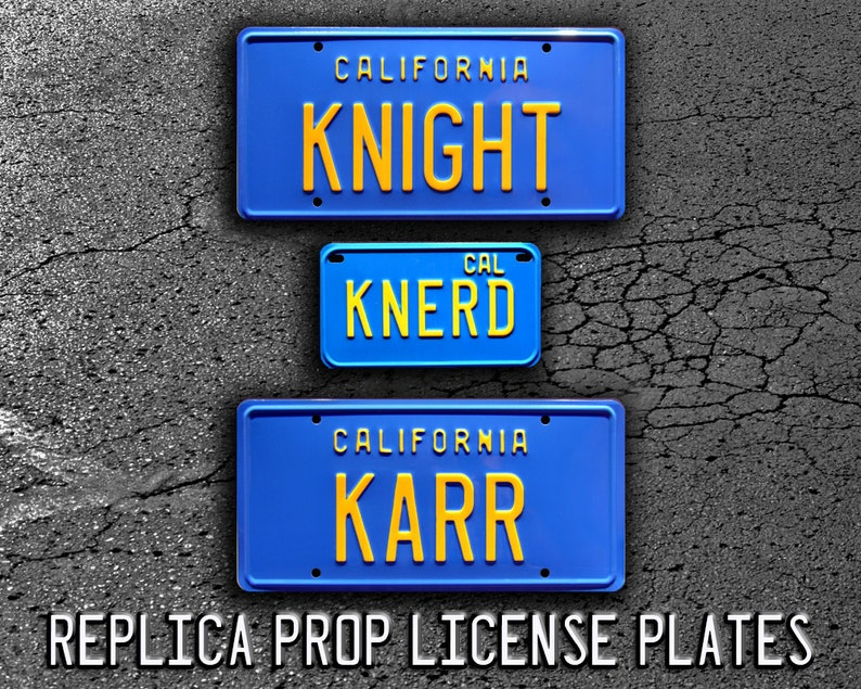 Knight Rider Trans Am   KNIGHT + KARR + KNERD   Metal Stamped Replica Prop  License Plate Combo