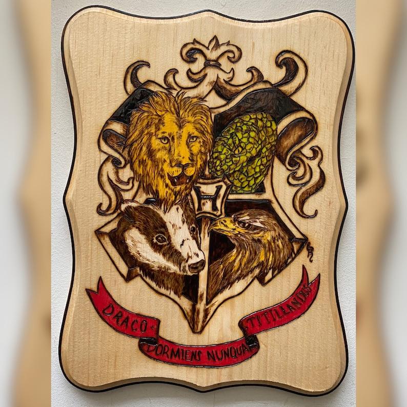 Hogwarts creat wood burned art