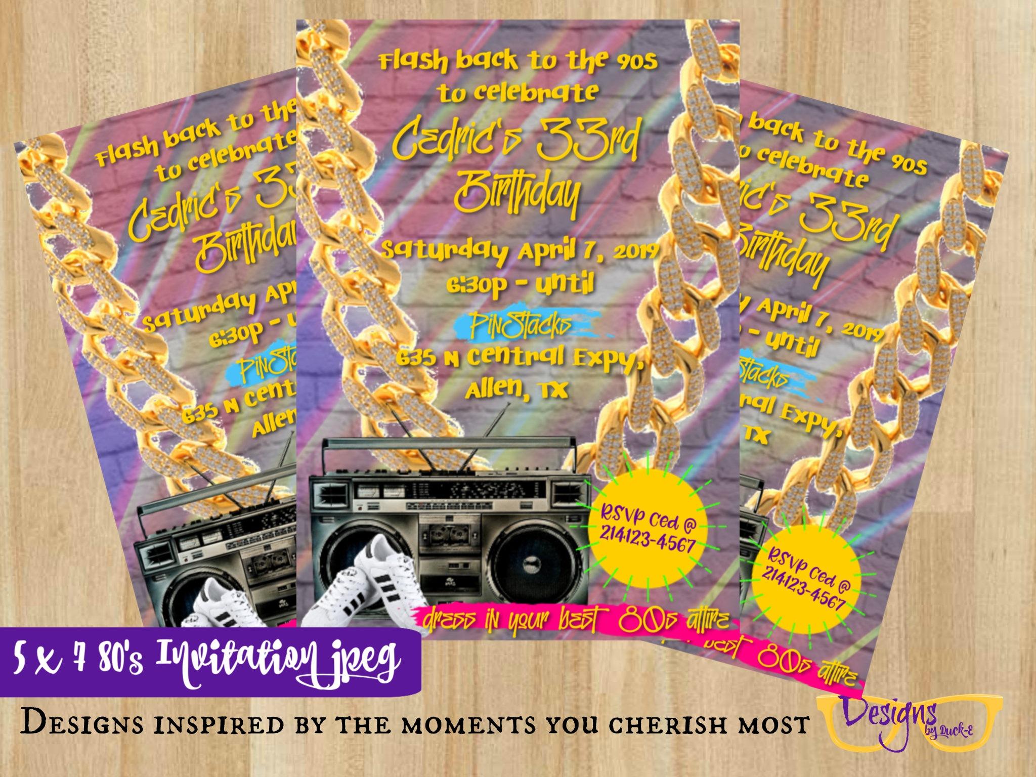 80s Hip Hop Birthday Celebration House Party Invitation Etsy