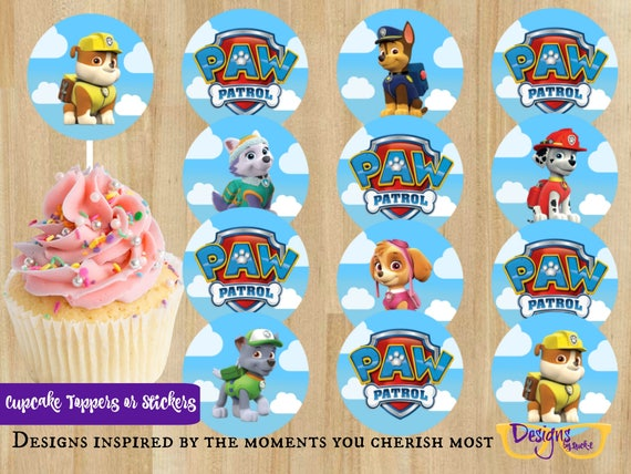 Paw Patrol Dogs Party Printable Sticker Cupcake Toppers 2 Round Template Digital Download
