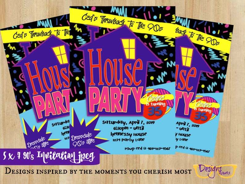 Phenomenal 90S House Party Bruno Mars Cardi B Celebration Party Invitations 5 X 7 Birthday Invitation Digital Download Download Free Architecture Designs Rallybritishbridgeorg