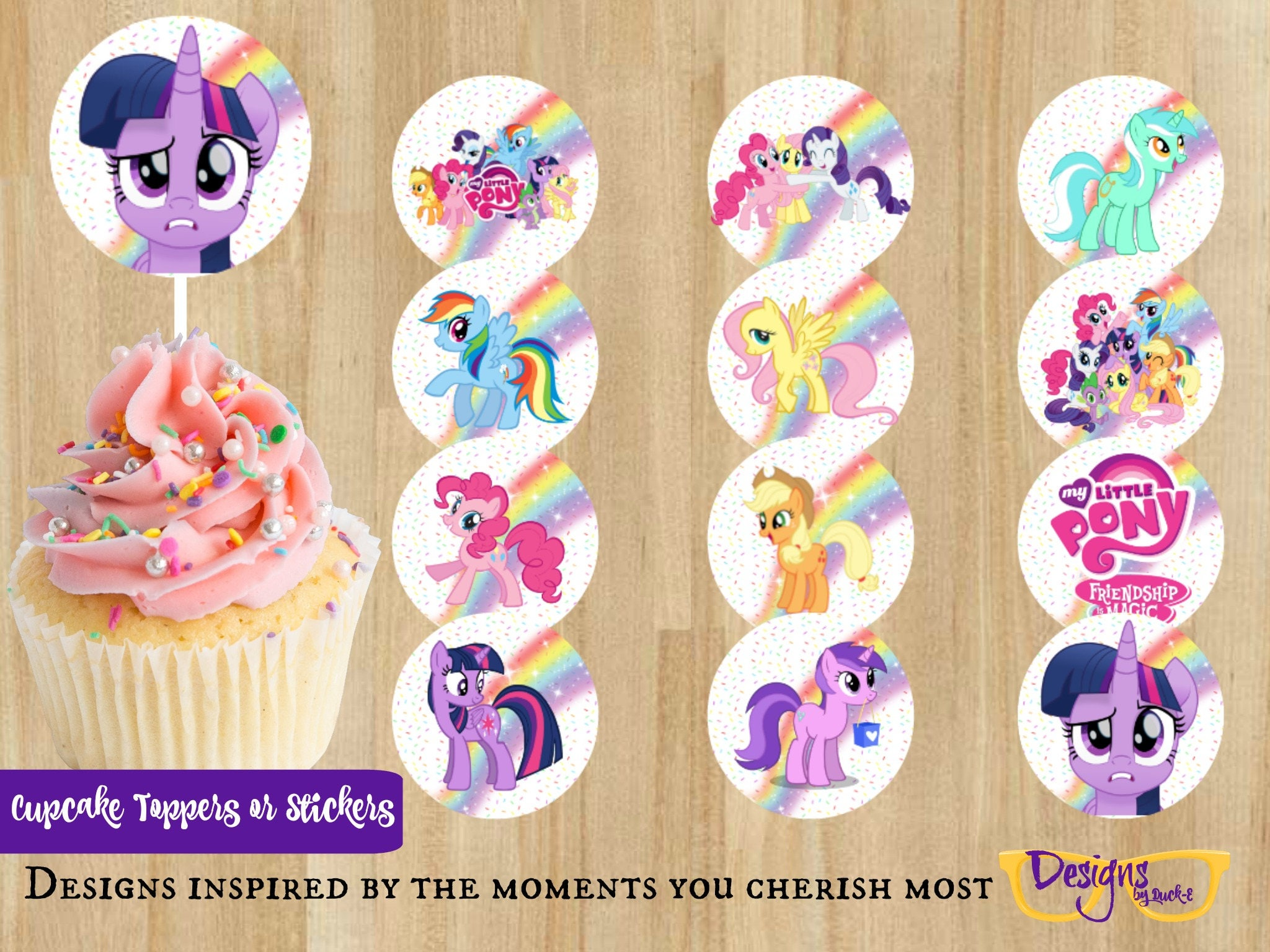 My Little Pony Birthday Celebration Party Printable Sticker Cupcake Toppers 2 Round Template Digital Download