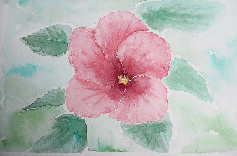 Watercolor flowers painting hibiscus flower floral etsy zoom izmirmasajfo