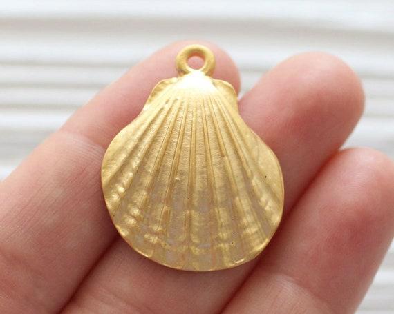 Seashell pendant gold, seashell earring dangles, matte gold, seashells, sea findings, sea pendant, big seashell charm gold, shell