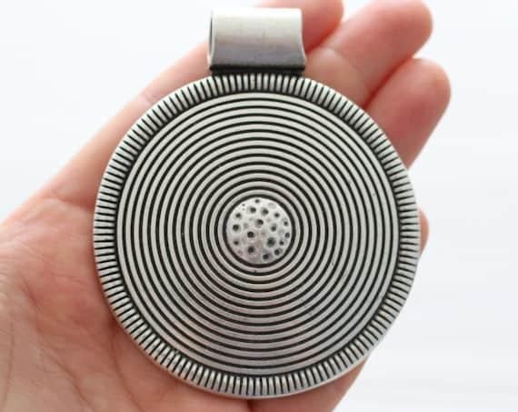 Large tribal pendant, silver medallion, spiral pendant, large medallion, large round pendant, large pendants, medallion, large metal pendant