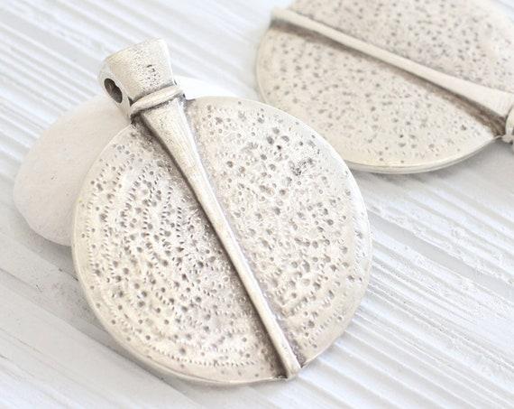 Silver tribal pendant, silver medallion, boho pendant, large pendants, large medallion, round pendant, rustic pendant, large medallion