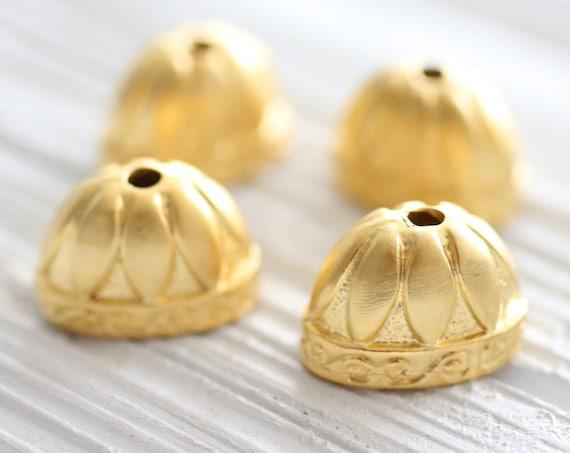 2pc large gold bead caps, gold tassel caps, gold bead cones, gold end caps, large tassel caps, tribal tassel cap, matte gold, large bead cap