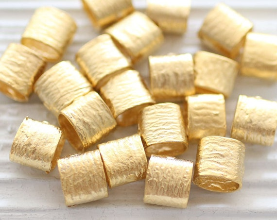 5pc gold barrel beads, bracelet beads, spacer slider beads, textured beads, hammered tube beads, large hole beads, rondelle, necklace beads