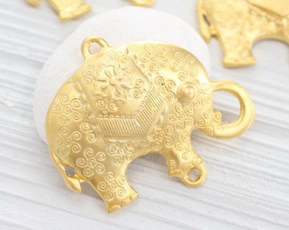 Large gold elephant pendant, matte gold elephant, animal pendant, elephant, natural findings, elephant necklace, elephant connector