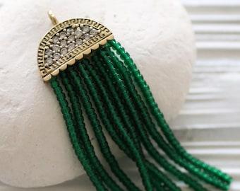 Emerald green beaded tassel, rhinestone antique tassel cap, forest seed bead tassel, earrings tassel, necklace tassel pendant, glitter