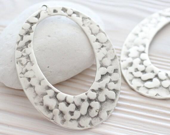 Teardrop pendant, hammered pendant, large metal pendant, tribal, boho, rustic drop pendant, oval pendant, necklace findings, hammered