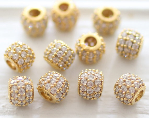 3pc 6mm clear rhinestone rondelle beads, gold rhinestone beads, pave beads, Christmas beads, round beads, pave rondelle, bead spacers