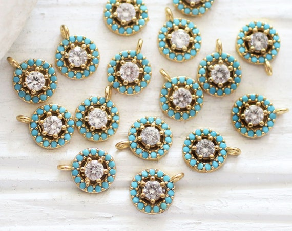 2pc rhinestone charms, dangle charms, gold round charms, beaded charms, circle charms, blue bead charms, earrings charm, pave charms pendant