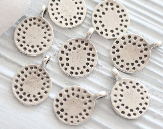 5pc hammered charm pendant, large silver charms, tribal charms, round disc charm, bracelet charms, earrings dangle, large hole silver beads