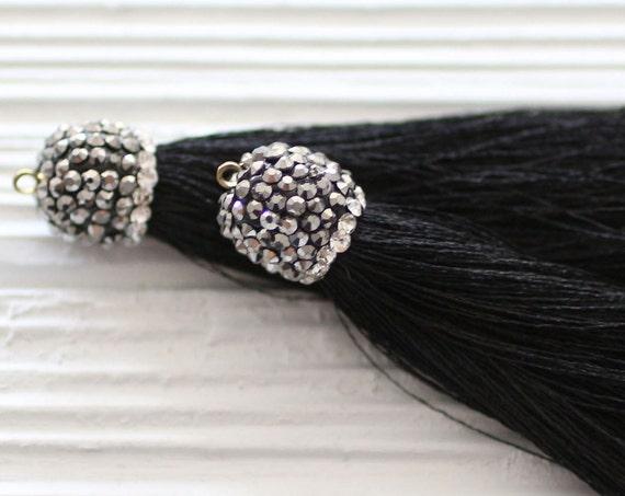 Black tassel with rhinestone cap, long black tassel, tassel pendant, rhinestones, black silk tassel, jewelry tassels, silk mala tassel