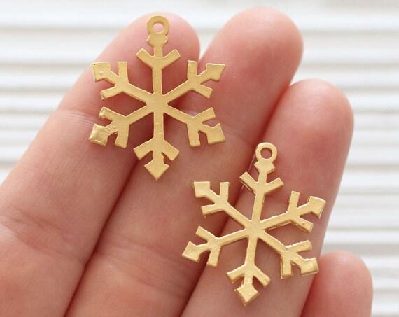 2pc snowflake charm pendant, snowflakes, gold snow flakes, earrings charms, pendant dangle, gold snowflakes, Christmas pendant, snow pendant