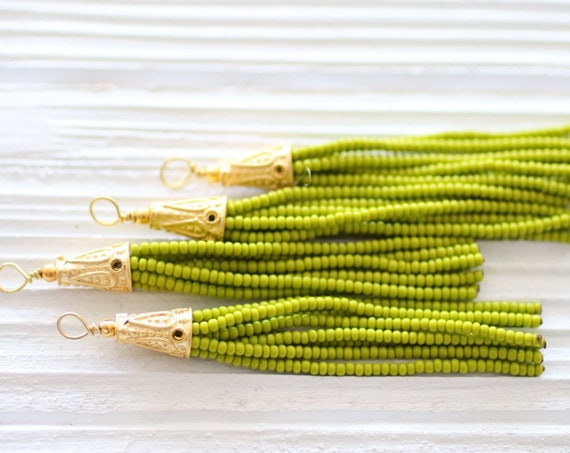 Olive green beaded tassel, green seed bead tassel, gold cap tassel, short tassel, jewelry tassels, bead tassel, earrings necklace tassel,N10