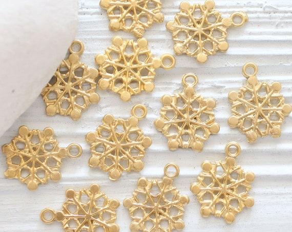10pc snowflake charms, snowflakes, gold snow flakes, earrings charms, snowflake pendant dangle, snowflakes, Christmas charms, snow charm