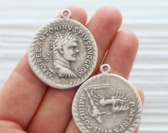 Silver coin pendant, coin jewelry findings, large coin medallion, coin dangles, replica Greek coins, ancient coin pendant, old coin charms