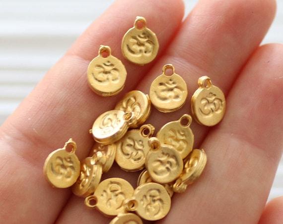 10pc gold om charm, om symbol, mini om charms, round metal beads, disc beads, yoga charm beads, gold zen charms, bracelet earring dangles