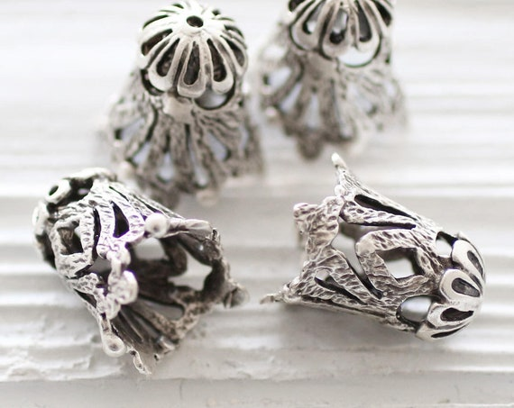 2pc large silver filigree bead cap, antique silver tassel caps, bead cones, end caps, silver cones, filigree findings, ornate bead cap