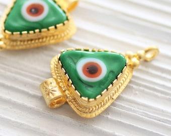 Green evil eye pendant, gold connectors, ornate, evil eye findings, evil eye connector, evil eye, gold bezel, evil eye jewelry, glass beads