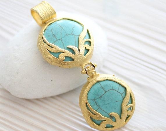 Gold bezel turquoise pendant, large filigree pendant, round gemstone pendant, matte gold, gold bezel, turquoise blue, round gold bezel