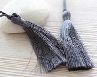 Dark gray silk tassel, long tassel, smoke, purse tassel charm, tassels for jewelry, tassel, grey decorative pillow tassels, mala tassel, N39