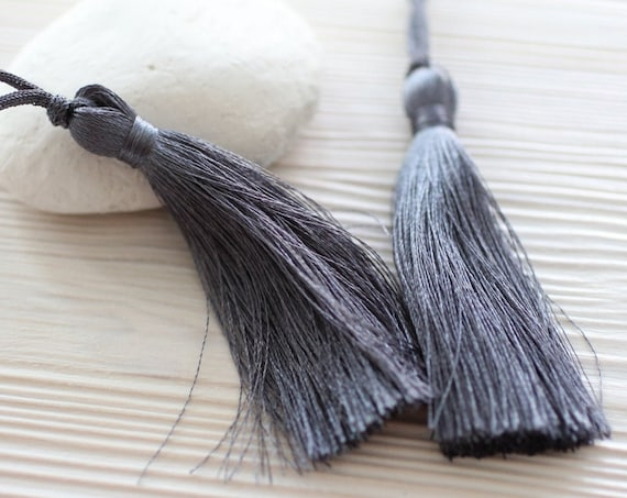 Dark grey silk tassel, long tassel, smoke, large tassels, tassels for jewelry, tassel,gray tassel,handmade tassel,mala tassel,decorative,N39