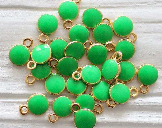 10pc green charm, enamel charms, mini round gold charms, Christmas charms, earrings charm, bracelet dangle, mini green pendant, emerald