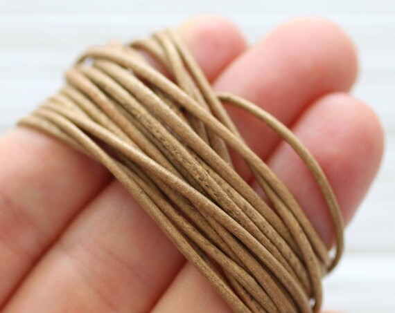 6 feet, natural brown leather cord, genuine leather, 1.5 mm tan round leather for necklace, for bracelets, genuine leather for earrings