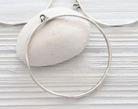 Organic shaped silver round pendant, earrings hoops, earring loop, silver hoops, hoop pendant, circle pendant, loop pendant, earrings dangle