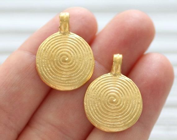 2pc spiral pendant charm, spiral dangle earrings charm, gold charms, spiral, gold round pendant charm, large hole charm pendant, matte gold
